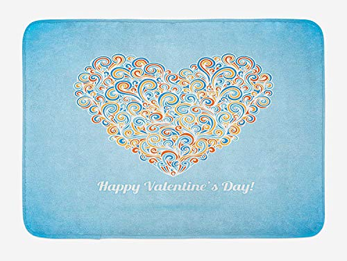 Weeosazg Valentines Day Bath Mat, Happy Love Valentines Day Image with Paisley Floral Colorful Heart Design, Plush Bathroom Decor Mat with Non Slip Backing, 23.6 W X 15.7 W Inches, Multicolor