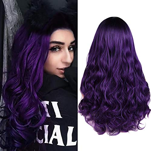 Dark Purple Wig (Ombre Purple Wig Long Natrual Wavy Middle Part Synthetic Hair Wigs 2 Tones Dark Roots to Purple Daily Party Cosplay Full Wigs for Women Girls African)