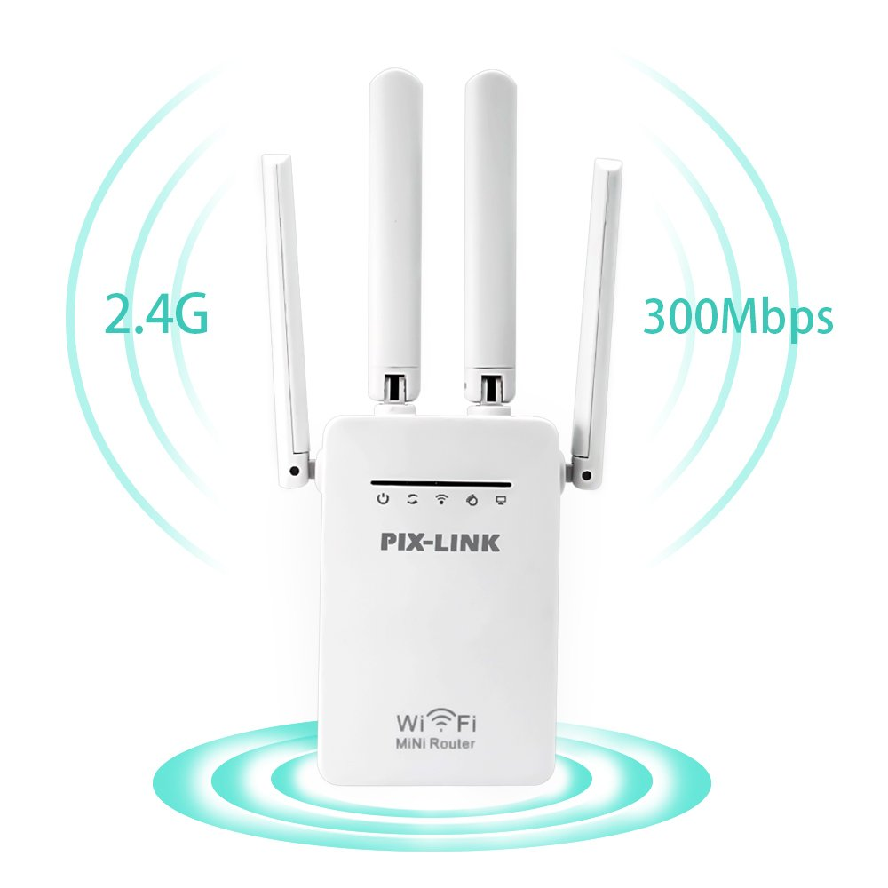 WiFi Range Extender Signal Booster 4 External Antennas 2.4GHz Fast Speed 300Mbs Wi-Fi Repeater