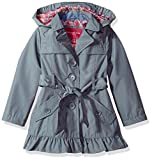 London Fog Little Girls' Single Breasted Trench Coat, Summer Grey, 4