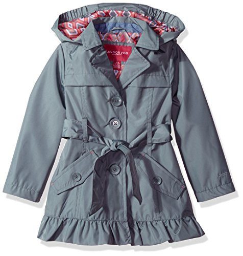 London Fog Little Girls' Single Breasted Trench Coat, Summer Grey, 4 by London Fog