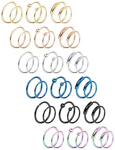 LOYALLOOK Hoop Nose Rings Stainless Steel Nose Ring Hoop Cartilage Hoop Septum Piercing 8-10mm 20G 36PCS Colorful