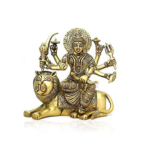 Vedic Vaani Shree MATA Rani, Jai Ambe Maa, Maa Durga Bhawani Hindu Goddess Idol, Statue, Murti, Sculpture in Fine Metal Brass for Navaratri, Daily Puja & Worship of Maa Durga