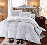 Elegant Overfilled Hypoallergenic Down Alternative Comforter, 500 TC 100% Plush Cotton Shell, Baffle-Box Construction, Solid White, Premium 750FP, King/Cal King Size
