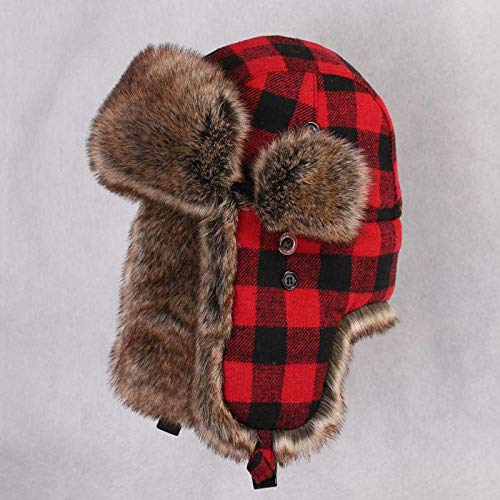 (VT BigHome Winter Trapper Bomber Hat Male Faux Rabbit Fur Russain Ushanka Warm Earflap tAviator Trooper Snow Cap Vintage Plaid Cycling Hats)