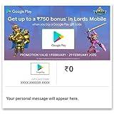 Get Upto Rs.750 Bonus In Lords Mobile||Google Play Gift Code - Digital Voucher