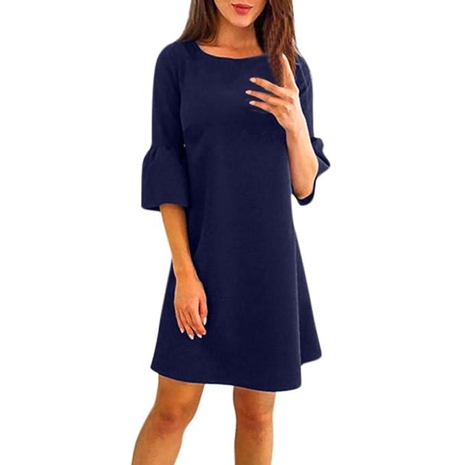 Damen kleid Rosennie Frauen Sommer mode Elegant Casual Aufflackern Ärmel  Gerade Reine Farbe O-halsausschnitt