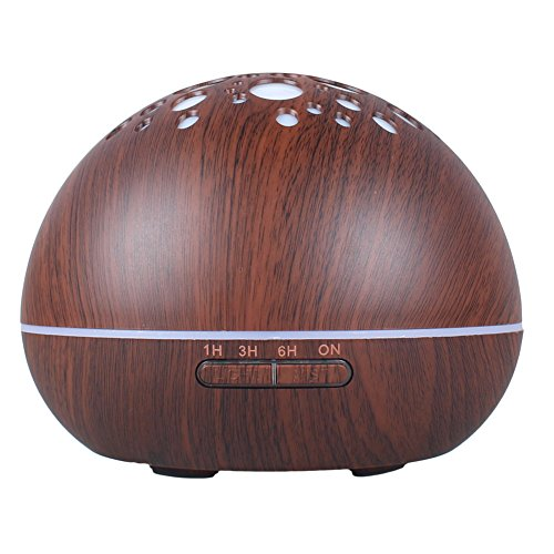 Dark Gray Diffuser - Shengruhua Essential Oil Diffuser 300ML Wood Grain Cool Mist Humidifier Aromatherapy Ultrasonic Aroma Diffuser, 7 Color Changing, Waterless Auto-Off for Home Office (Dark gray)