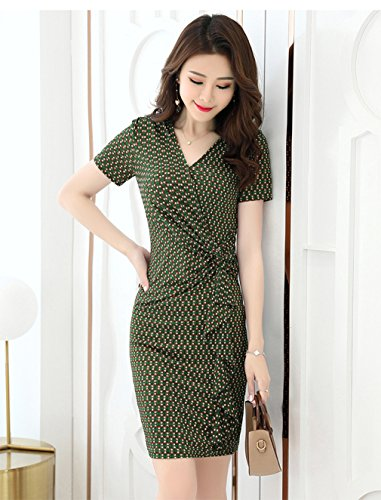 cotyledon Women`s Dress Wave Short V Point Con Body Neck Dresses Green Sleeve 66UwarTq