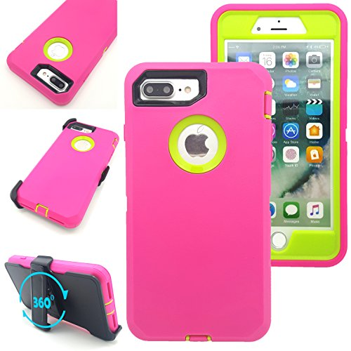 iPhone 7 Plus Case,Vodico Heavy Duty Rugged Multi-Layer Hybrid Protective Shockproof Defender Armor Case Cover with Belt Clip and Built-in Screen Protector for iPhone 7 Plus (Hot Pink Green)