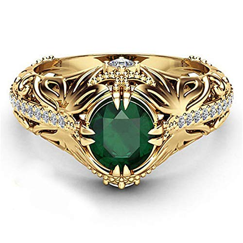Thenxin Retro Luxury Green Diamonds Women's Wedding Ring Exquisite Love Rings for Her Gift (Gold, 7)