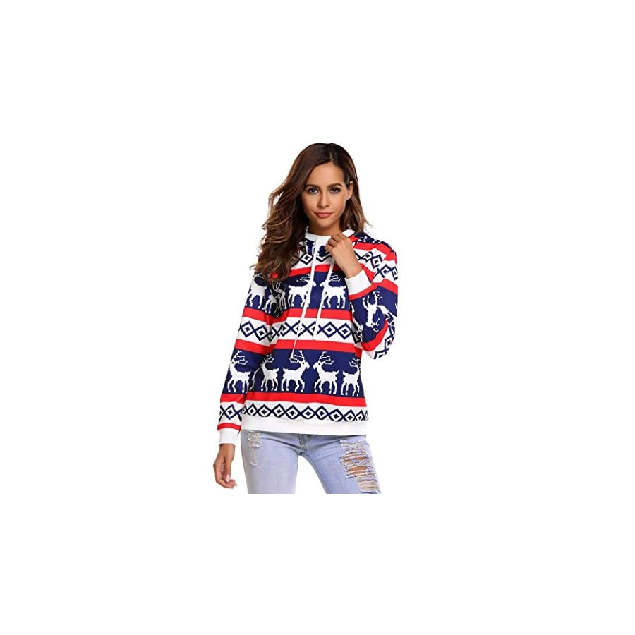 Honhui Christmas Women Hoodies Xmas Sweatshirt Jumper Hooded Long Sleeve Pullover