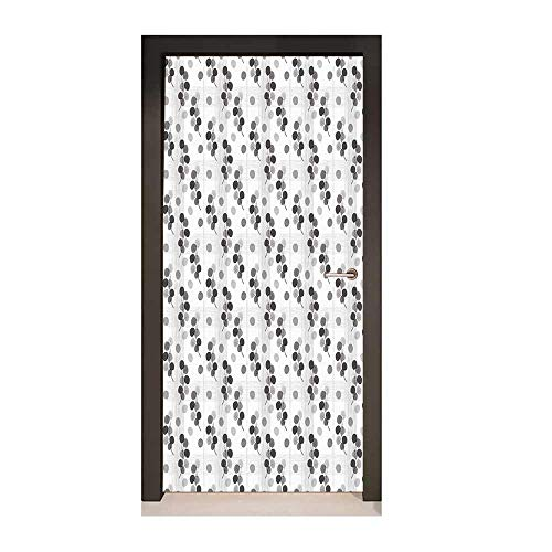 - Abstract Decorative Door Sticker Fall Tree Branches Monochrome Image Lined Background Autumn Foliage Removable Vinyl Charcoal Grey Pale Grey,W23.6xH78.7