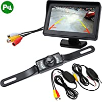 Handy Car Backup Camera Kit Waterproof Infrared Night Vision Wide Angle License Plate Backup Camera + 4.3 LCD Color Rearview Video Monitor Vehicle RV Parking Reversing Assist Safety Wireless System