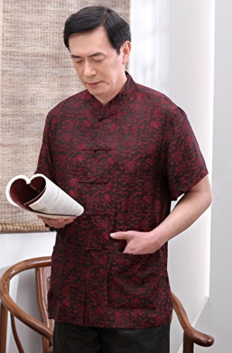 High-end Business Shirts Tang Suit Casual Shirts Chinese National Style Mulberry Silk by JIANYUAN-Tang Suit (Image #4)