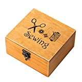ROSENICE Wooden Sewing box Sewing Accessories Supplies Kit Workbox for Mending