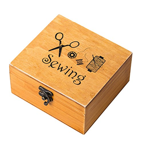 ROSENICE Wooden Sewing box Sewing Accessories Supplies Kit Sewing Workbox for Mending
