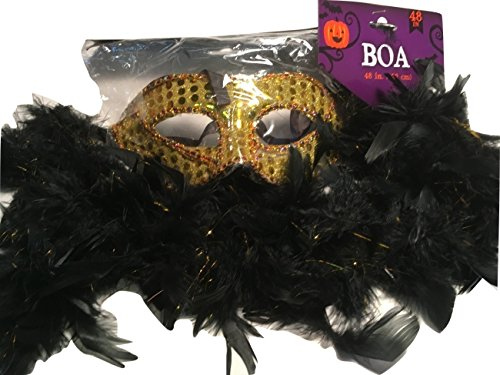 Costume Gold Ideas Dress Sequin (Novelty Party Mask With Sequins, Black and Gold Feather Boa; Halloween, Mardi Gras, Masquerade Ball, etc.; 2-pc)