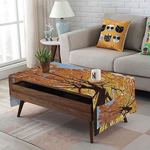 Cabinet Linen Maple - iPrint Linen Blend Tablecloth,Side Pocket Design,Rectangular Coffee Table Pad,Leaves,Autumn Maple Tree from Bottom to Top View Environment Flora Season November Print,Orange Blue,for Home Decor