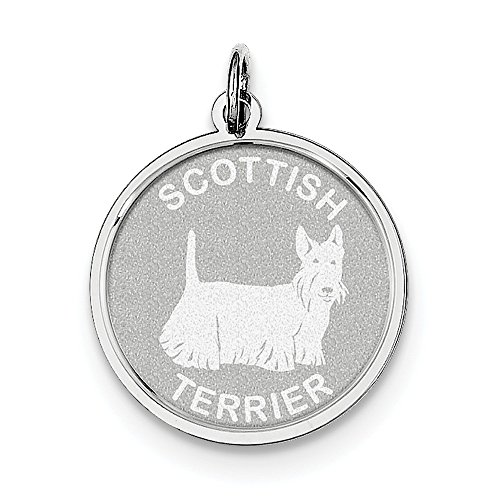 FB Jewels Solid Sterling Silver Scottish Terrier Disc - Scottish Charm Terrier Disc