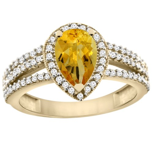 14K Yellow Gold Natural Citrine Ring 9x7 Pear Halo Diamond, size 5.5