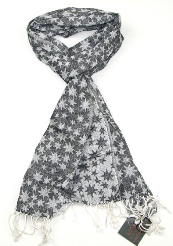 - Lovarzi Black and White Star Scarf - Cotton scarves for winter and summer