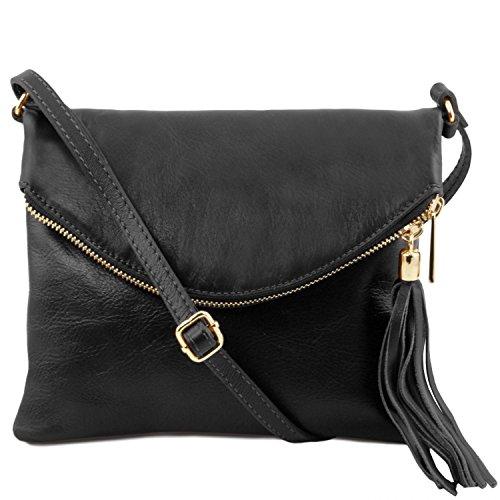 Tuscany Leather TL Young Bag Sac bandoulière avec pompon Taupe foncé Noir