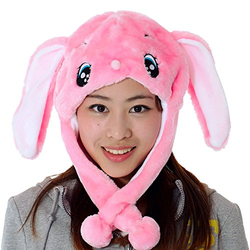 JOYHY Unisex Winter Plush Ear Flap Animal Hats Pink (Girls Snow Bunny Costume)
