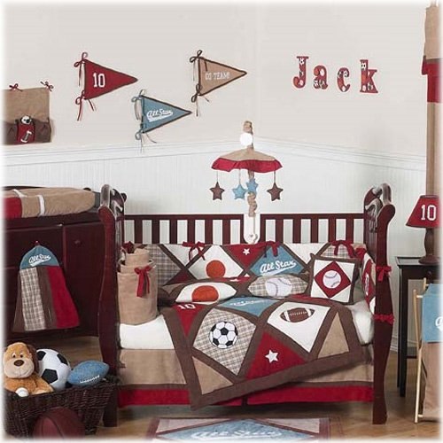 Sweet Jojo Designs 9-Piece All Star Sports Red, Blue and Brown Baby Boy Bedding Crib (All Star Crib Bedding)