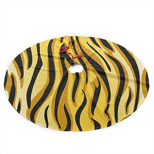 Gold Yellow Tiger Round (ASDJJ Christmas Tree Skirt 35-Inch Round with Yellow Tiger Fur Texture Holiday Decorations)