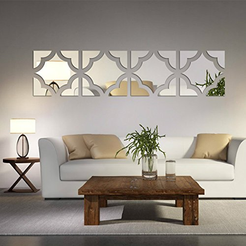 Alrens(TM)20pcs/Set Geometric Art 3D Acrylic Mirror Wall Sticker Home Decor DIY Kitchen Living Room TV Background Decoration by Alrens (Image #2)