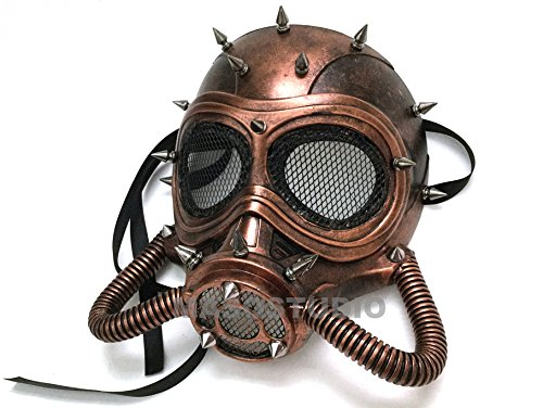 Halloween Costume Cosplay Steampunk Dress up Party Masquerade Gas Mask (Copper) -