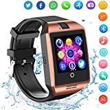 Smart Watch for Android Phones - Bluetooth Watch Cell Phone with Audio and Image and Camera - SIM Card Slot Smartwatch Touchscreen for Men Women (Gold)