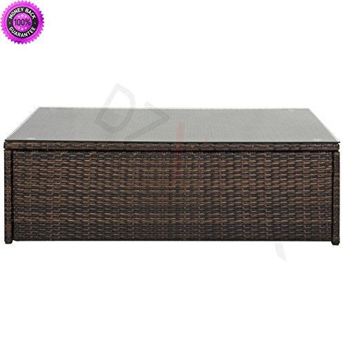 DzVeX Wicker Coffee Table w/Tempered Glass Top - Brown And patio furniture outdoor furniture costco patio furniture target patio furniture discount outdoor furniture patio furniture lowes