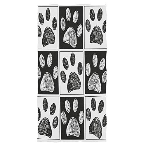 Wamika Dog Pattern Large Hand Towels Doodle Black White Dog Animals Paws Print Bath Towel Ultra Soft Highly Absorbent Multipurpose Bathroom Towel for Hand,Face,Gym,Sports and Spa Home Decor, 16x30 in Black White Dog Prints