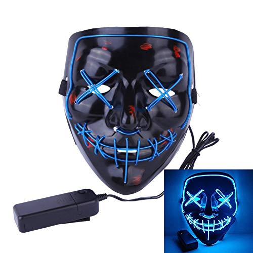 Uecoy Light up LED Smiling Stitched Purge Mask for Halloween, Rave, Festivals, and Cosplay (Blue) -