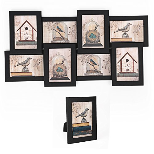 SONGMICS Picture Frames Collage 4'' x 6'' Puzzle Wall Mounting Photo Frame 8 Openings 1 Table Stand Black URPF08B