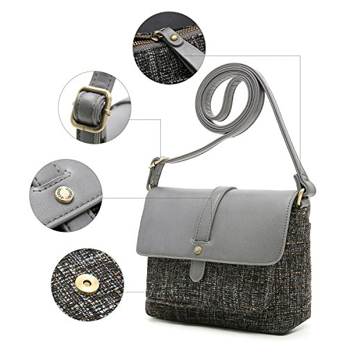 Pocket Purse with Grey Back Shoulder Vintage Bag Women ECOSUSI over Crossbody Handbag Flap cPpx4cRqw8