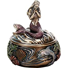 Summit Collection Art Nouveau Holding Hand Over Chest Resin Mermaid Trinket Box