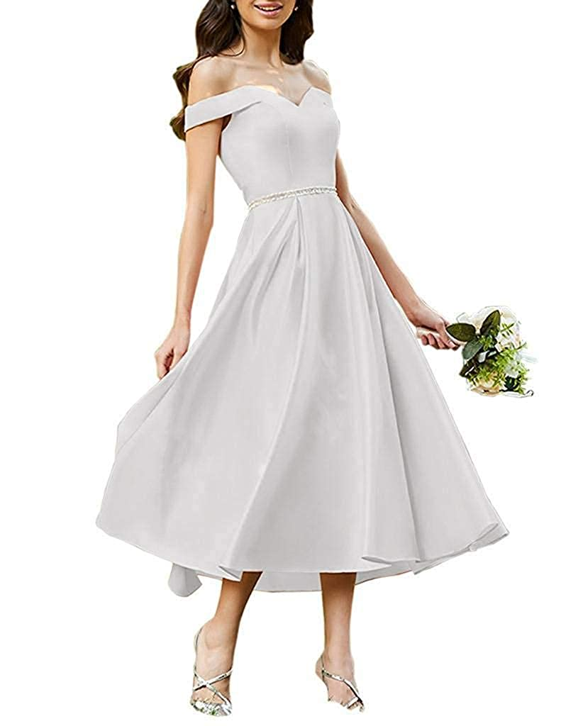 White Staypretty Bridesmaid Dresses Off Shoulder Beaded Satin Tea Length Formal Evening Prom Gowns