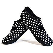 NuFoot Mary Janes Women's Shoes, Best Foldable, Flexible Flats, Slipper Socks, Travel Slippers, Exercise Shoes, Dance Shoes, Yoga Socks, House Shoes, Indoor Slippers, Black/White Polka Dots, Large