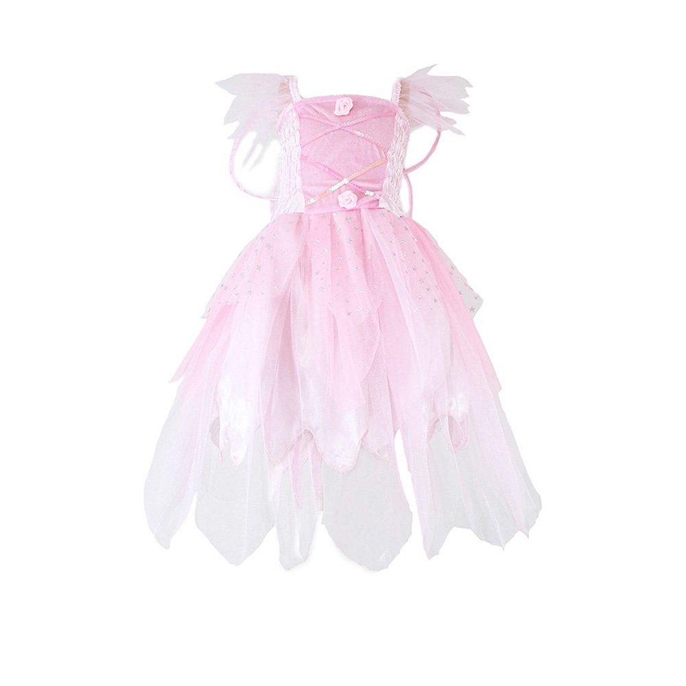 Girls Princess Fairy Wings Tutu Long Dress Birthday Party Costume Halloween, Pink 4-6 Year