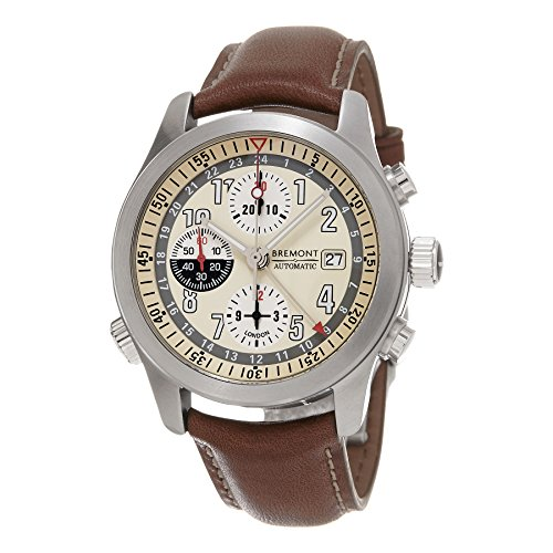 Bremont Men's Swiss Automatic Stainless Steel and Leather Casual Watch, Color:Brown (Model:...