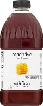 Madhava Organic Amber Honey, Unfiltered Organic Amber Honey, 5 Lb