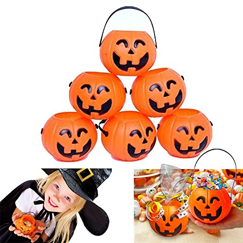 dazzling toys Pumpkin Candy Holder | 12 Mini Trick treat Halloween Candy Buckets | Family Friendly Halloween Candy Holders]()