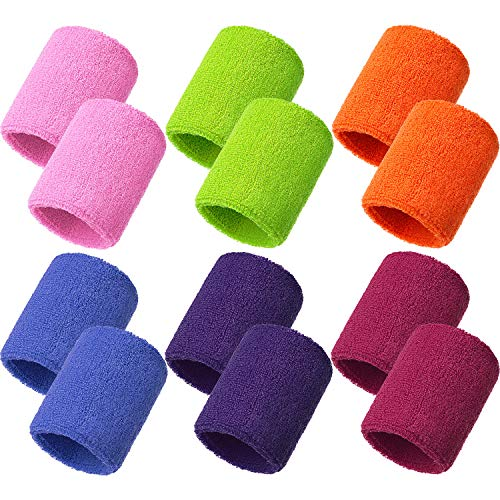 Bememo 12 Pack Sweatbands Sports Wristband Cotton Sweat Band for Men and Women, Good for Tennis, Basketball, Running, Gym, Working Out (Multicolor)
