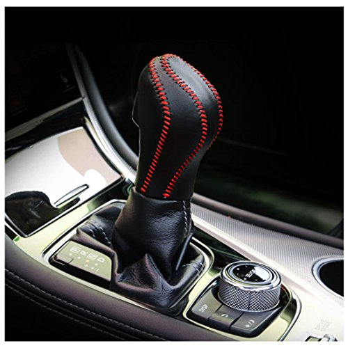 Genuine Leather Automatic AT Gear Shift Knob Cover Protector Trim For Infiniti Q50 (Black) - Infinite Knob