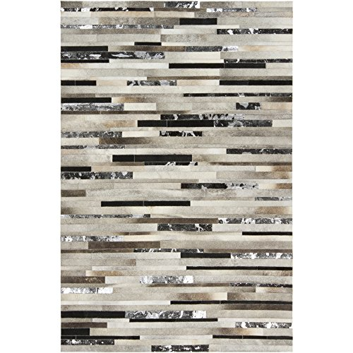 Surya Trail TRL-1120 Hand Crafted 100% Leather Silver Cloud 5' x 8' Animal Hide Area Rug from Surya