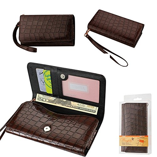 Wallet Brown Alligator with Cash Pocket, Credit card slots and ID Window for Doro 824 SmartEasy with a cover on it. Comes with wrist strap.