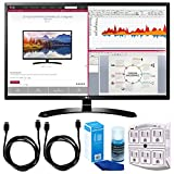 LG 32MA68HY-P 32-Inch IPS Monitor with Display Port and HDMI Inputs w/ Accessories Bundle Includes, 2x 6ft. HDMI Cable, SurgePro 6-Outlet Surge Adapter with Night Light & Screen Cleaner For LED TVs